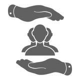 Dos manos con el grupo de icono del hombre de negocios en un fondo blanco - Imagenes de archivo