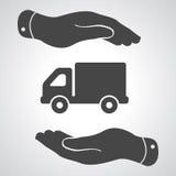 Dos manos con el pictograma plano del camión libre illustration