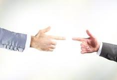 Dos manos con los dedos Imágenes de archivo libres de regalías