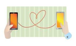 Dos manos con smartphones móviles Imagen de archivo libre de regalías