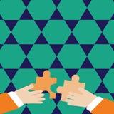 Dos manos de los hombres de negocios que llevan a cabo pedazos coloridos de rompecabezas son alrededor entrelazar las tejas Fondo stock de ilustración