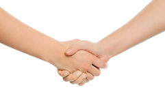 Dos manos de sacudida. Imagenes de archivo