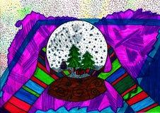 Dos manos en los guantes multicolores que sostienen la bola de cristal stock de ilustración