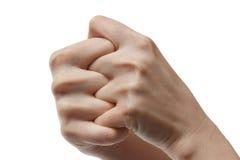 Dos manos en puños del asimiento del uno mismo Imagenes de archivo