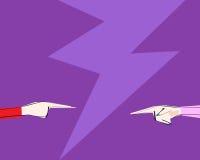 Dos manos femeninas con señalar el finger dirigieron en uno a El concepto de discusión, acusación, negocio, frien Foto de archivo