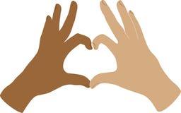 Dos manos humanas muestran símbolo bajo la forma de fingeres doblados corazón Imágenes de archivo libres de regalías