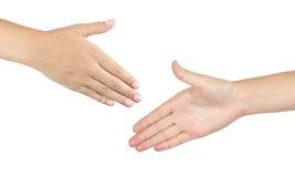 Dos manos masculinas alrededor para sacudir las manos Foto de archivo