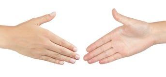 Dos manos masculinas alrededor para sacudir las manos Imágenes de archivo libres de regalías