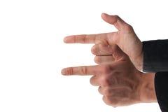 Dos manos masculinas del caucasion como armas imagen de archivo libre de regalías