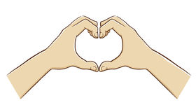 Dos manos que forman un símbolo del amor Imagen de archivo libre de regalías