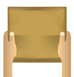 Dos manos que llevan a cabo el trozo de papel vacío en un blanco aislado Imágenes de archivo libres de regalías
