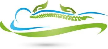 Dos manos y logotipos de la espina dorsal, de la ortopedia y del masaje libre illustration