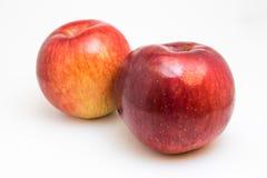 Dos manzanas aisladas en blanco imagenes de archivo