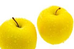Dos manzanas con gotas. Imágenes de archivo libres de regalías