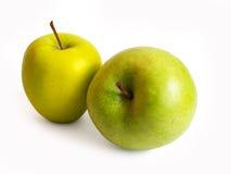 Dos manzanas en blanco Fotografía de archivo