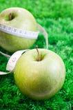 Dos manzanas en hierba con cinta métrica Imagen de archivo libre de regalías