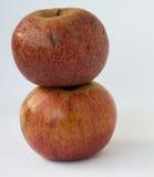 Dos manzanas italianas rojas una en otra Foto de archivo