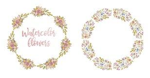Dos marcos de la flor de la acuarela del c?rculo, cubierta de la tarjeta foto de archivo