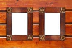 Dos marcos de madera en blanco fotografía de archivo