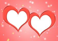 Dos marcos en los corazones de la forma Fotos de archivo libres de regalías