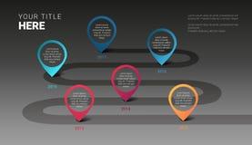 Dos marcos miliários modernos do negócio do vetor molde infographic no fundo escuro ilustração stock