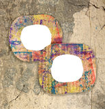 Dos marcos pintados coloridos en blanco de la cartulina Imagen de archivo