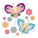 Dos mariposas en las flores Fotografía de archivo