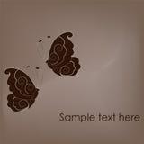 Dos mariposas hermosas en fondo marrón Imagen de archivo
