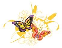 Dos mariposas y flores brillantes Imagenes de archivo