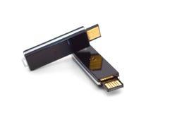 Dos mecanismos impulsores negros del flash del usb Imagen de archivo