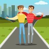 Dos mejores amigos masculinos que caminan en la calle de la ciudad, gente joven que abraza, ejemplo del vector del concepto de la stock de ilustración