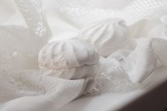 Dos melcochas en la tela blanca del cordón Fotografía de archivo libre de regalías