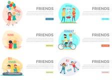 Dos melhores amigos do dia coleção da Web para sempre no branco ilustração stock
