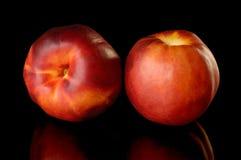 Dos melocotones rojos de la nectarina foto de archivo libre de regalías