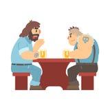 Dos miembros de la cuadrilla con los tatuajes que hablan en la tabla, la barra de la cerveza y el criminal mirando a los hombres  stock de ilustración