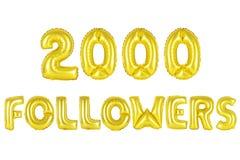Dos mil seguidores, color oro Imagen de archivo libre de regalías