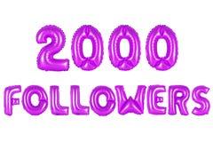 Dos mil seguidores, color púrpura Imagen de archivo libre de regalías