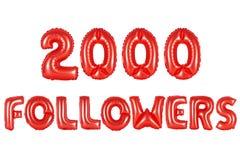Dos mil seguidores, color rojo Imágenes de archivo libres de regalías
