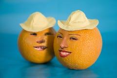 Dos mitades de una naranja navel Fotografía de archivo libre de regalías