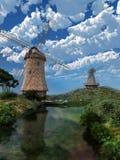 Dos molinoes de viento Fotos de archivo libres de regalías