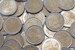 Dos monedas de los euros Foto de archivo