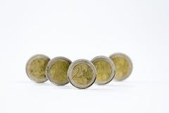 Dos monedas euro en fila Fotografía de archivo