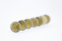 Dos monedas euro en fila Imagen de archivo libre de regalías