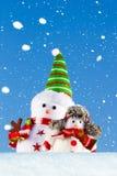 Dos muñecos de nieve que se colocan en la nieve Imagen de archivo libre de regalías