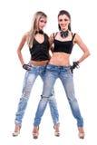 Dos muchachas atractivas presentación, aislada sobre blanco Imagen de archivo
