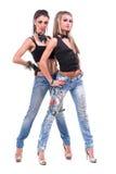Dos muchachas atractivas presentación, aislada sobre blanco Foto de archivo