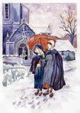Dos muchachas bajo el paraguas ilustración del vector