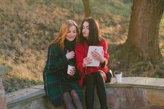 Dos muchachas con el artilugio Imagen de archivo