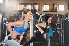 Dos muchachas de la aptitud que levantan pesas de gimnasia en el gimnasio Imagen de archivo