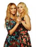 Dos muchachas de la belleza con un micrófono Fotografía de archivo libre de regalías